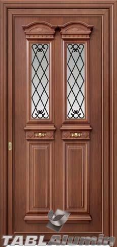 Παραδοσιακή πόρτα αλουμινίου εξωτερική X-8440