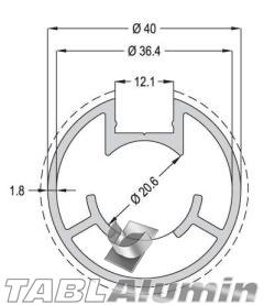 TP-1804 Κολώνα Ø40x1,8 (1 έξοδος)