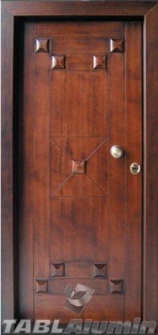 θωρακισμένη πόρτα με χειροποίητη επένδυση ξύλου ΘΠ-500
