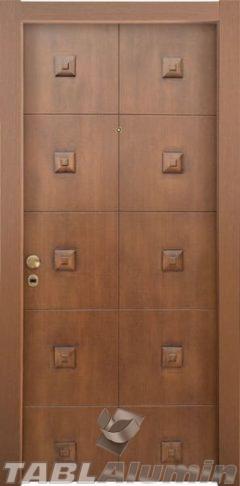 θωρακισμένη πόρτα με χειροποίητη επένδυση ξύλου ΘΠ-504