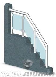Ανοδιωμένη Σκάλα Αλουμινίου με Τζάμι MODEL 16