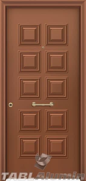 Θωρακισμένη πόρτα με πρεσσαριστή επένδυση αλουμινίου Θ-130