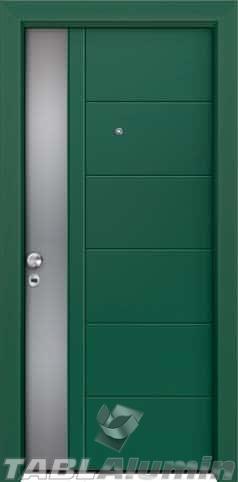 Θωρακισμένη πόρτα με πρεσσαριστή επένδυση αλουμινίου Θ-420