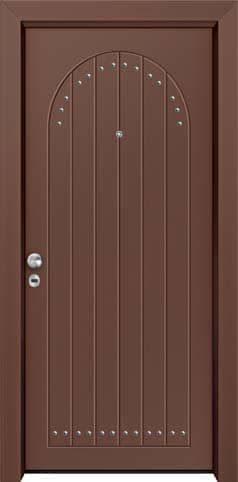 Θωρακισμένη πόρτα με πρεσσαριστή επένδυση αλουμινίου Θ-510