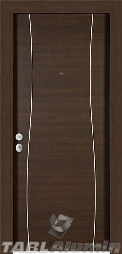 θωρακισμένη πόρτα με μοντέρνο inox σχέδιο ΘΠ-126