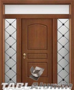 θωρακισμένη πόρτα με παντογραφικό σχέδιο ΘΠ-200 με δύο σταθερά και φεγγίτη
