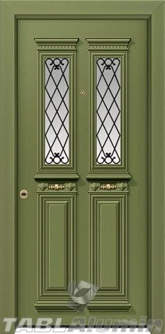 Θωρακισμένη πόρτα με χυτά διακοσμητικά και τζάμι Θ-7340