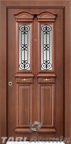 Θωρακισμένη πόρτα με χυτά διακοσμητικά και τζάμι Θ-7450