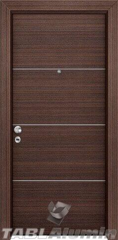 θωρακισμένη πόρτα με οριζόντιες inox ράβδοι ΘΠ-100
