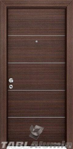 θωρακισμένη πόρτα με οριζόντιες inox ράβδοι ΘΠ-107