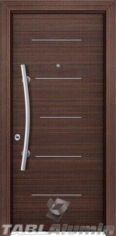 θωρακισμένη πόρτα με οριζόντιες inox ράβδοι ΘΠ-113