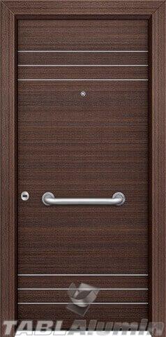 θωρακισμένη πόρτα με οριζόντιες inox ράβδοι ΘΠ-115